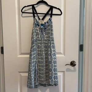 Petticoat Alley size XS blue and white print dress